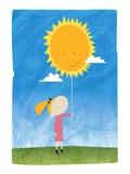 Girl holding a sun balloon Giclée par Harry Briggs