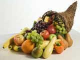Fruits and vegetables in cornucopia basket