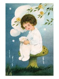 Illustration of Girl Sitting on Mushroom by Margaret Evans Price