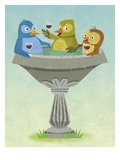 Birds Relaxing and Sipping Wine in Birdbath