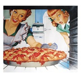 Woman taking cherry pie from oven
