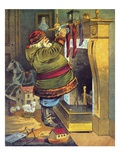 Illustration of Santa Claus placing toys in Christmas stockings by William Roger Snow
