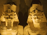 Detail of seated colossi of Ramesses II at Abu Simbel temple