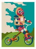 Young robot riding a tricycle