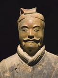 Terra cotta warrior with color still remaining  Emperor Qin Shihuangdi&#39;s Tomb  Xian  Shaanxi  China
