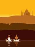 Couple Meditating in front of the Taj Mahal