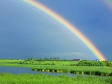 Double rainbow over lake and rural landscape
