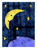 Crescent moon and sleeping man