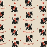 Greetings pattern with black cat