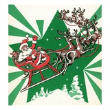 Illustration of Santa&#39;s Sled Pulled by Reindeer