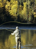 Flyfisherman and Fall Reflections  Bulkley River Smithers  British Columbia  Canada