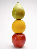 Stack of three fruits in a row