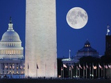 Moon over mall in Washington DC