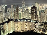 Hong Kong skyscrapers and apartment blocks at night