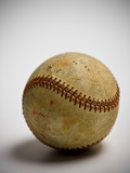 Close-up of worn baseball