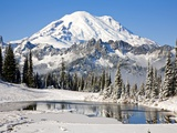 First winter snow at Mount Rainier and Tipsoo Lake  Mount Rainier National Park  Washington State