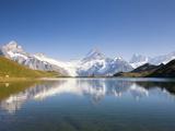 Wetterhorn   Schreckhorn and Finsteraarhorn reflecting in Lake Bachalp