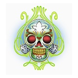Day of the Dead skull with dice