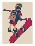 Robot riding a snowboard