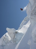 Back Country Skier Jumping Off Mountain