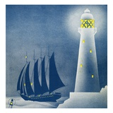 Illustration of Schooner Sailing near Lighthouse