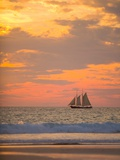 Lugger type pearling sailboat near Broome in Western Australia