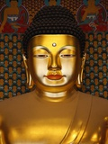 Detail of Sakyamuni Buddha Statue in Main Hall of Jogyesa Temple
