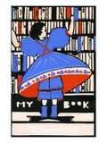 Illustration of girl selecting book