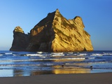 Rock formation off Wharariki Beach in New Zealand