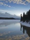 Maligne Lake  at First Light Near Jasper  Alberta  Canada