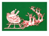 Illustration of Santa's Sled Pulled by Reindeer