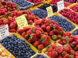 Jean Talon Market with Fresh Berries on Display  Montreal  Quebec  Canada