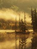 Nisga'a Lava Bed Memorial Provincial Park  Lava Lake in Autumn Mist  Nass River Valley  British Col