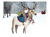 A Girl Riding an Elk with Ornaments on its Antlers in the Snow Scene