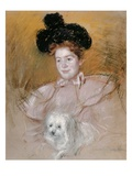 Woman in Raspberry Costume Holding a Dog