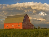 Barn and Cumulonimbus Cloud Mass near Bromhead  Saskatchewan  Canada