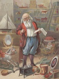 Santa Claus in his toy storage room