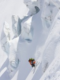 Backcountry Skier in Mid-Jump