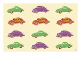 Cars  in Green  Purple and Orange