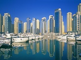 Skyline and boats on Dubai Marina