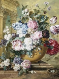 A Still Life of Roses  Delphiniums and Tulips