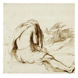 Ink Drawing of a Male Bather by Guercino