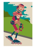 Robot on roller blades