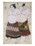 Full-Length Portraits of Wrestlers from the Eastern Group  Uzugafuchi on the Right and Onogawa on t