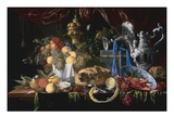 A Still Life with a Pie Pewter Plate  a Lemon  a Silver Spoon  Crayfish and Shrimp