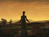 A Woman at Sunset or Sunrise