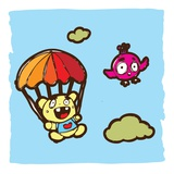 Teddy bear using a parachute