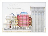Architectural Drawing of Theatre Building with Cross-Sectional View by H Monnot