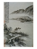 View of Boats at a Riverbank from an Album of Twelve Landscape Paintings