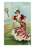 Postcard of a Well-Dressed Woman Playing Tennis